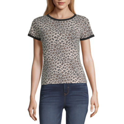 Arizona-Womens Round Neck Short Sleeve T-Shirt Juniors
