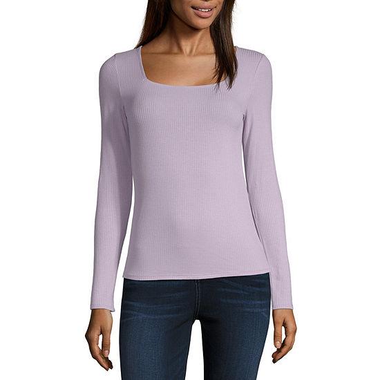 Arizona-Womens Square Neck Long Sleeve T-Shirt Juniors