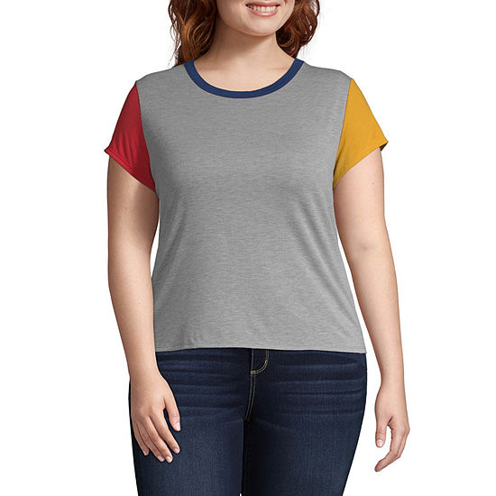 Arizona-Womens Round Neck Short Sleeve T-Shirt Juniors Plus