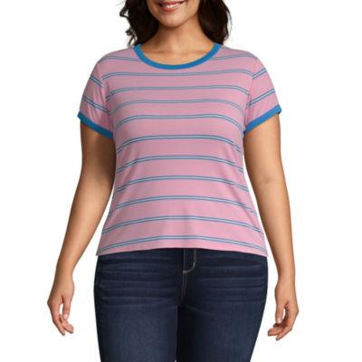 Arizona-Womens Round Neck Short Sleeve T-Shirt Juniors Plus
