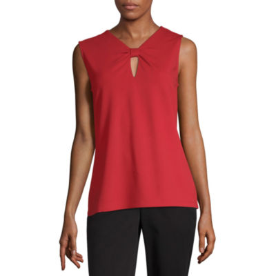 Liz Claiborne Womens Keyhole Neck Sleeveless Knit Blouse
