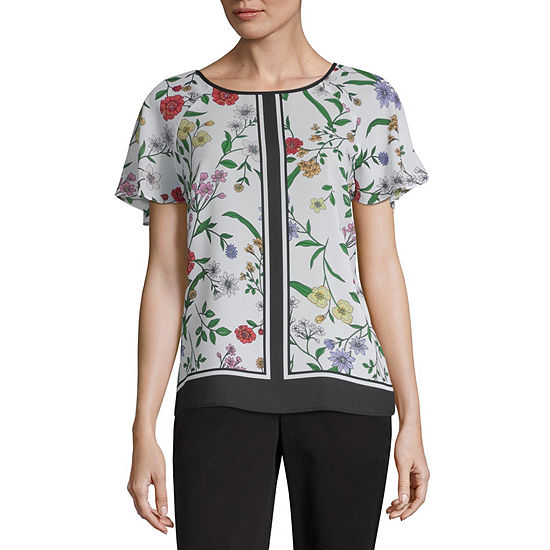 Liz Claiborne Secret Garden Womens Scoop Neck Short Sleeve Blouse