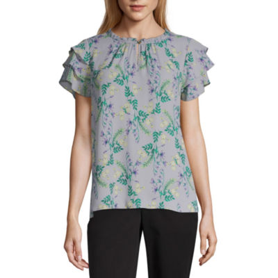 Liz Claiborne Womens Short Sleeve Blouse