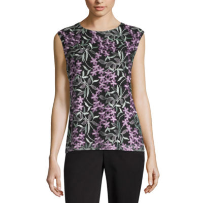 Liz Claiborne Spring Bouquet Womens Round Neck Sleeveless Blouse