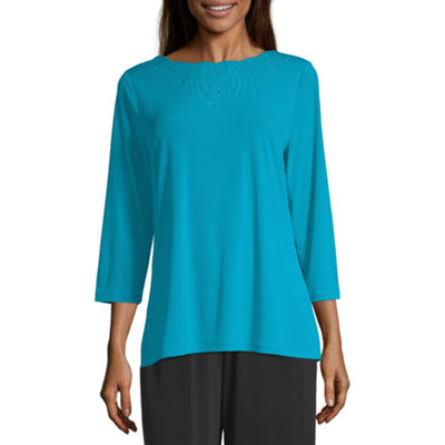 east 5th Womens Scallop Neck 3/4 Sleeve Knit Blouse