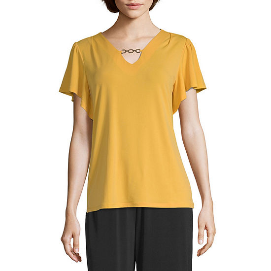 east 5th Womens V Neck Short Sleeve Knit Blouse