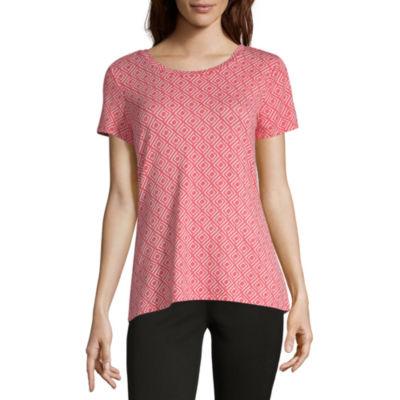 Liz Claiborne Weekend-Womens Scoop Neck Short Sleeve T-Shirt