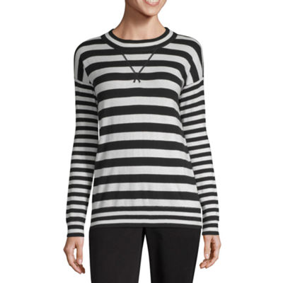 Liz Claiborne Weekend Womens Crew Neck Long Sleeve Striped Pullover Sweater