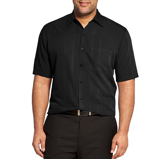Van Heusen Mens Short Sleeve Moisture Wicking Striped Button-Front Shirt Big and Tall