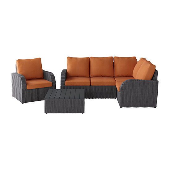 CorLiving Weather Resistant Corner Sectional with Square Coffee Table