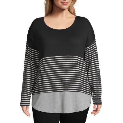 a.n.a Long Sleeve Scoop Neck T-Shirt - Plus