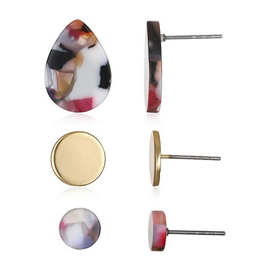 Mixit Resin 3 Pair Earring Set