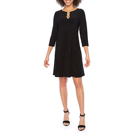 MSK 3/4 Sleeve Shift Dress- Petite