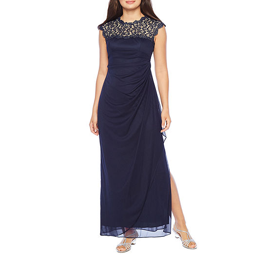 S. L. Fashions Sleeveless Embroidered Evening Gown-Petite
