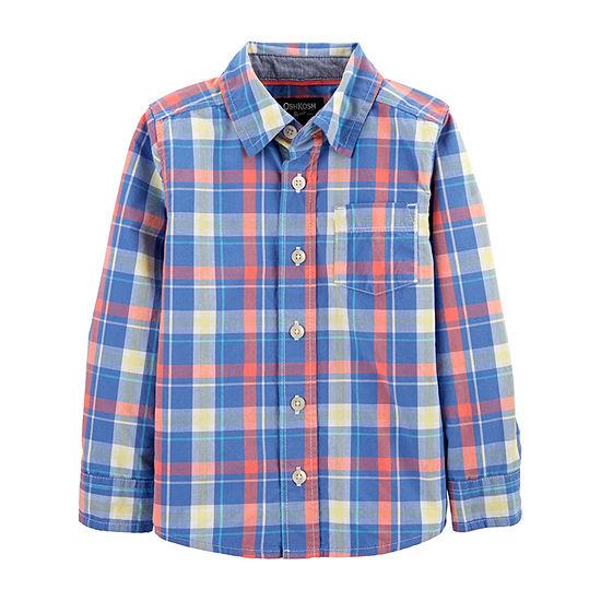 Oshkosh Toddler Boys Long Sleeve Button-Down Shirt