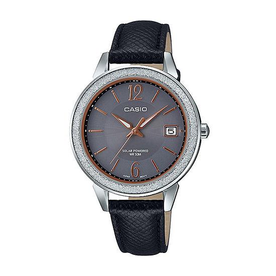 Casio Womens Black Leather Strap Watch-Ltps200l-1av