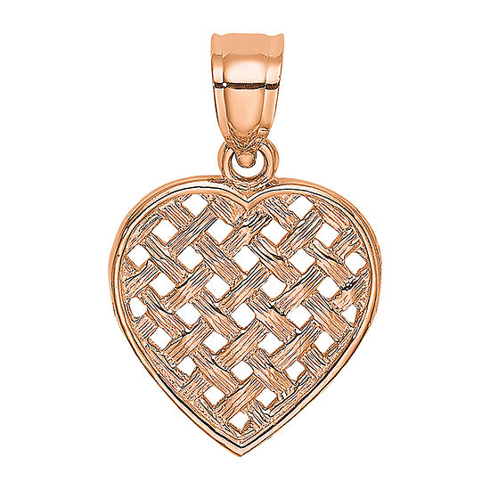 Womens 14K Rose Gold Heart Pendant