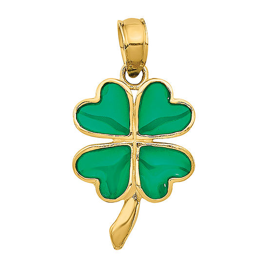 4-Leaf Clover Womens 14K Gold Pendant