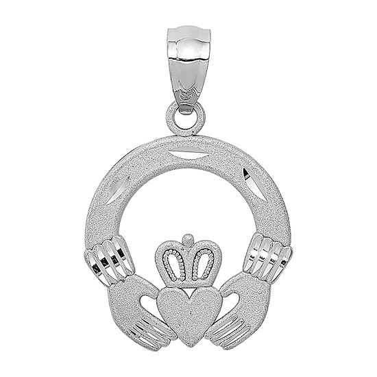 Womens 14K White Gold Claddagh Pendant