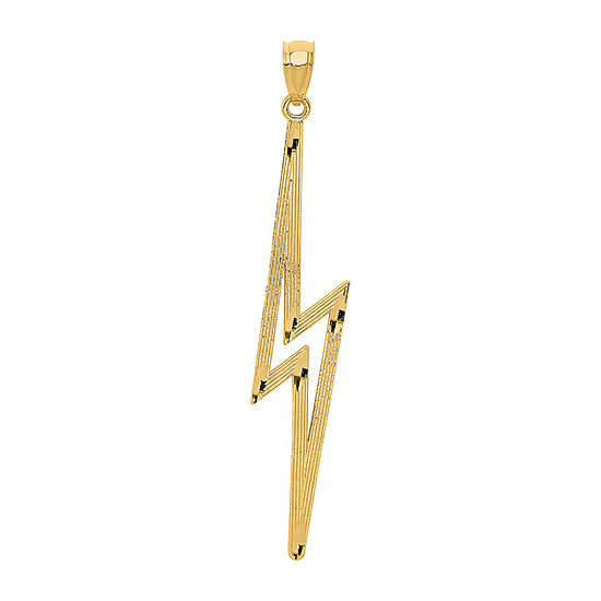 Lightning Bolt Womens 14K Gold Pendant
