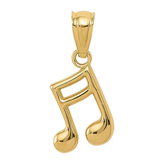 Music Note Womens 14K Gold Pendant