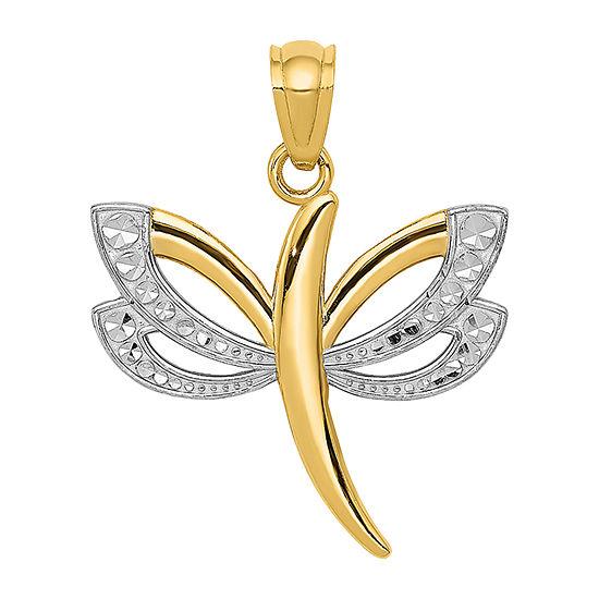 Dragonfly Womens 14K Gold Pendant