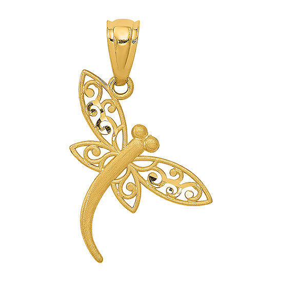 Dragonfly Womens 14K Gold Pendant