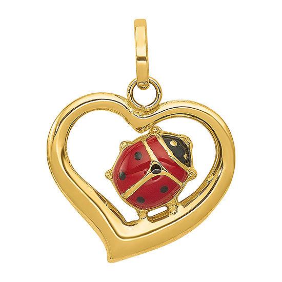Ladybug Womens 14K Gold Heart Pendant