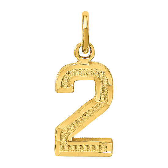 Number 2 Womens 14K Gold Pendant