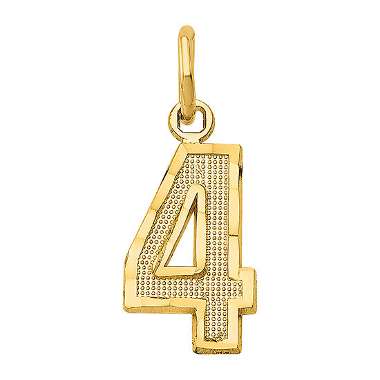 Number 4 Womens 14K Gold Pendant