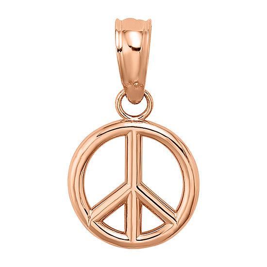 Peace Sign Womens 14K Rose Gold Pendant