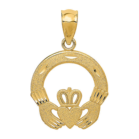 Womens 14K Gold Claddagh Pendant