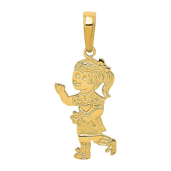 Girl Womens 14K Gold Pendant