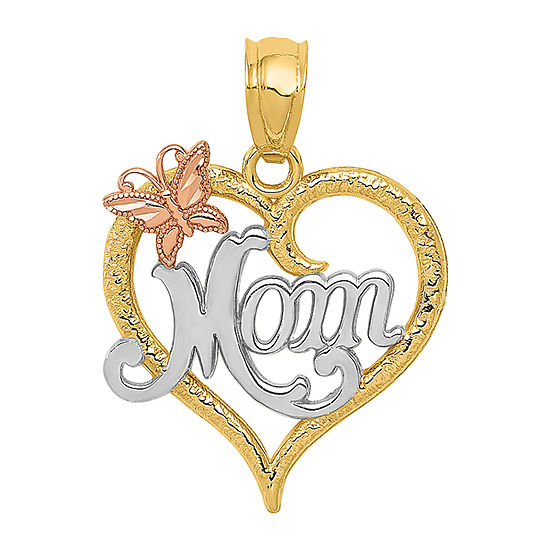 """Mom"" Womens 14K Two Tone Gold Heart Pendant"