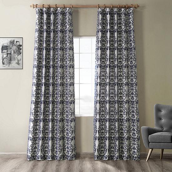 Exclusive Fabrics & Furnishing Firenze Flocked Faux Silk Rod-Pocket Curtain Panel