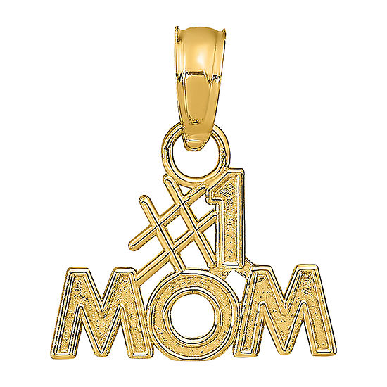 #1 Mom Womens 14K Gold Pendant
