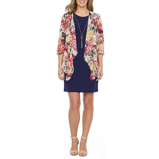 R & K Originals 3/4 Sleeve Floral Faux Jacket Dress