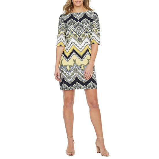Studio 1 3/4 Sleeve Chevron Puff Print Shift Dress