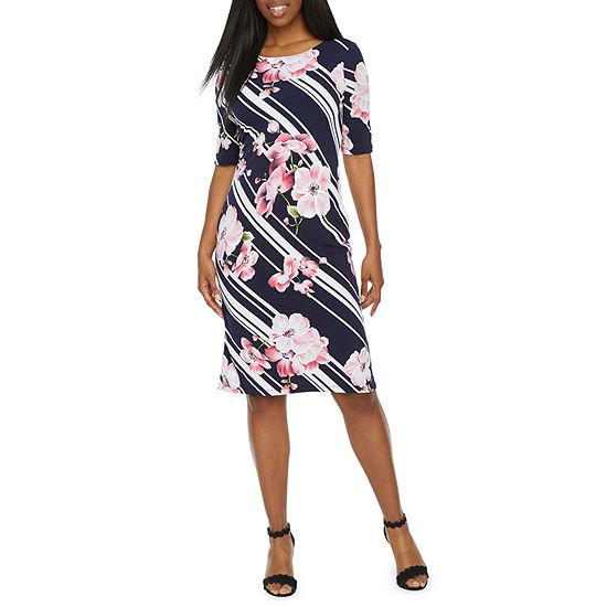 Ronni Nicole Short Sleeve Floral Stripe Puff Print Sheath Dress