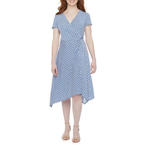 Perceptions-Petite Short Sleeve Dot Puff Print Fit & Flare Dress