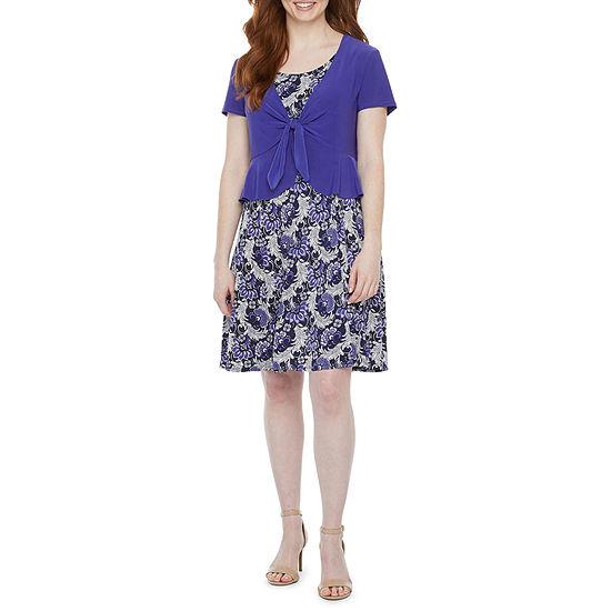 Perceptions-Petite Short Sleeve Floral Puff Print Jacket Dress