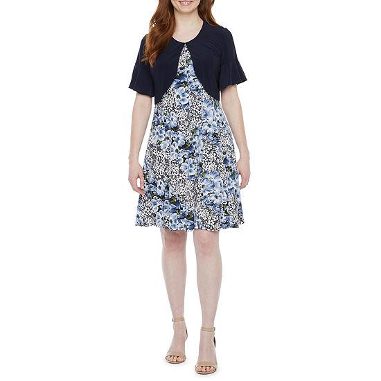 Perceptions-Petite Short Bell Sleeve Floral Puff Print Jacket Dress