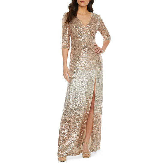 R & M Richards 3/4 Sleeve Ombre Sequin Evening Gown