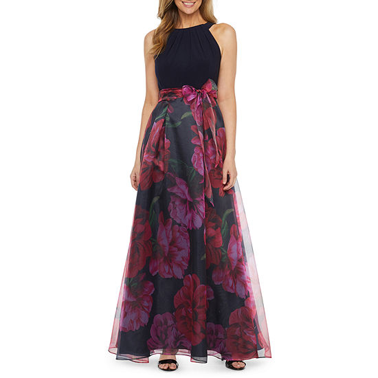 S. L. Fashions Sleeveless Floral Evening Gown