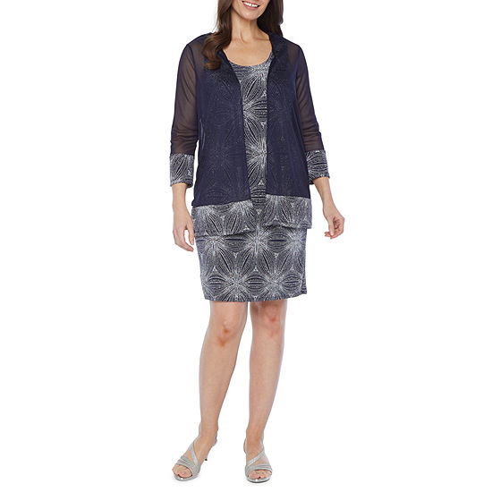 Blu Sage 3/4 Sleeve Glitter Knit Jacket Dress