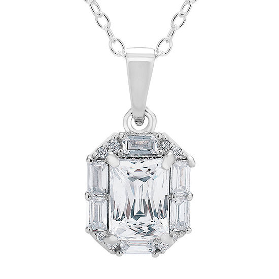Swarovski 125th Celebration Womens White Cubic Zirconia Sterling Silver Pendant Necklace