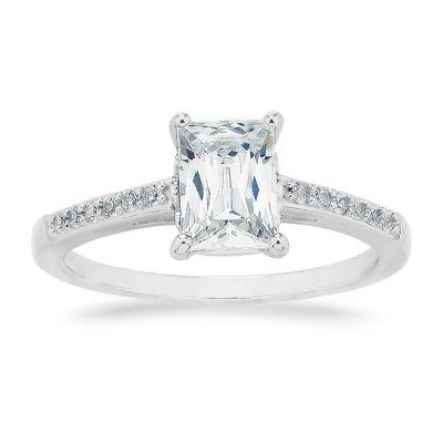 Swarovski 125th Celebration Womens White Cubic Zirconia Sterling Silver Engagement Ring