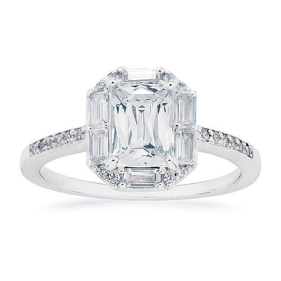 Swarovski 125th Celebration Womens White Cubic Zirconia Sterling Silver Halo Engagement Ring