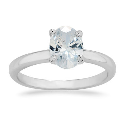 Womens White Cubic Zirconia Sterling Silver Solitaire Engagement Ring