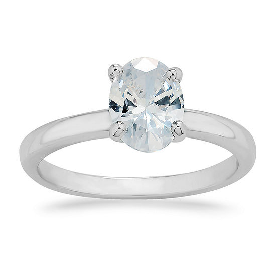 Swarovski Womens White Cubic Zirconia Sterling Silver Solitaire Engagement Ring